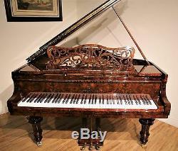 Hamburg Steinway art case grand piano Model O in burl walnut polish
