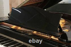 Rebuilt, 1935, Bechstein Model L grand piano in black with square, tapered legs