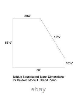 Solid Spruce Bolduc Soundboard Blank for Baldwin Model L Grand Piano
