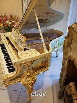 Steinway Model O, Louis XV Exquisite ornate white and gold gilded grand piano