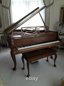 Steinway Piano, Model M Baby Grand, Ltd Edition Satin Chippendale Signed