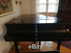 Steinway & Sons Model M Grand Piano, Baby Grand Piano with Bench, Ebony Finish